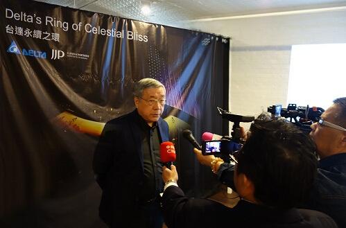 潘冀建筑师与媒体分享台达永续之环的设计理念