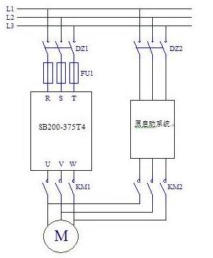 电路结构图   图1中,变频器采用希望森兰科技股份有限公司生产的sb200